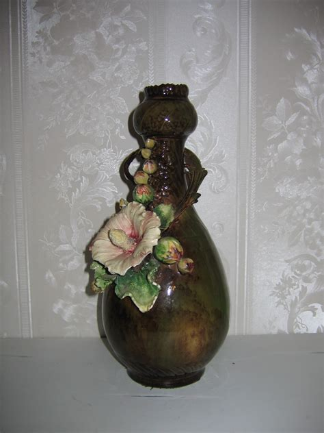 Antique Flower Vase by Antique Austrian Abstract Hollyhock Floral Pottery Flower