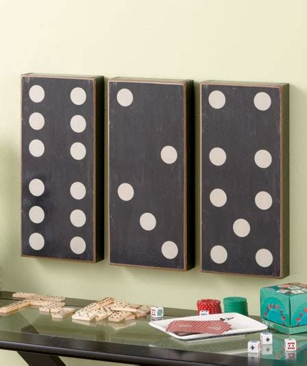 game room wall decor ideas 3 pc dominoes wall art set black white game room decor