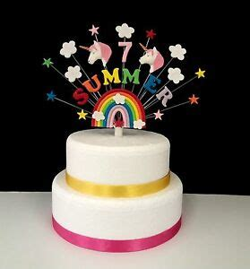 rainbow unicorn birthday cake topper personalised   age ebay