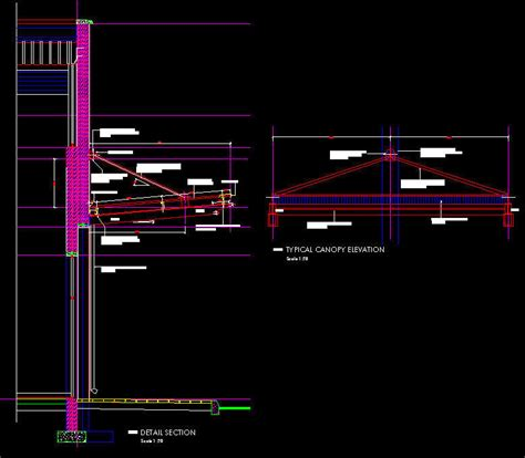 awning construction details cad details steel canopy contemporary 5 deg slope heavy construction