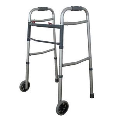 professional walker dual 2 button folding walker with 5 quot wheels heavy duty professional up to 300lbs ebay