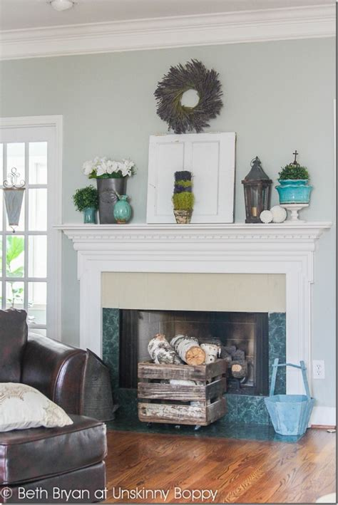 a riverstone fireplace sets the tone creative faux panels creative fireplace mantel decorating ideas