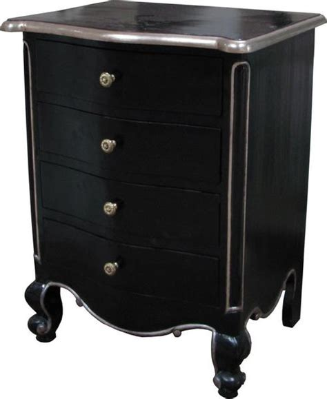 black and silver bedside ls french louis bedside 4 bs008p lock stock