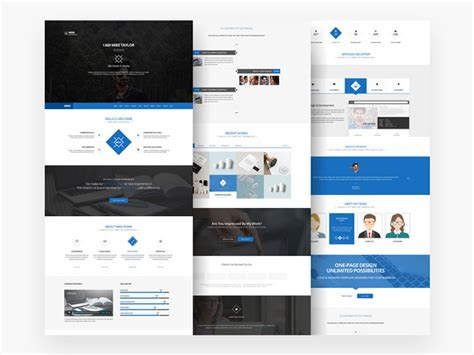 free download clean one page website template psd