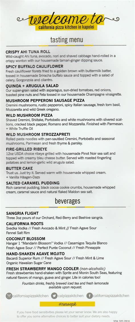 Tasting Kitchen Menu by California Pizza Kitchen Ka Makana Ali I Kapolei Preview