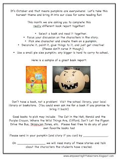 pumpkin book report characters me and my kindergarten character pumpkin book report