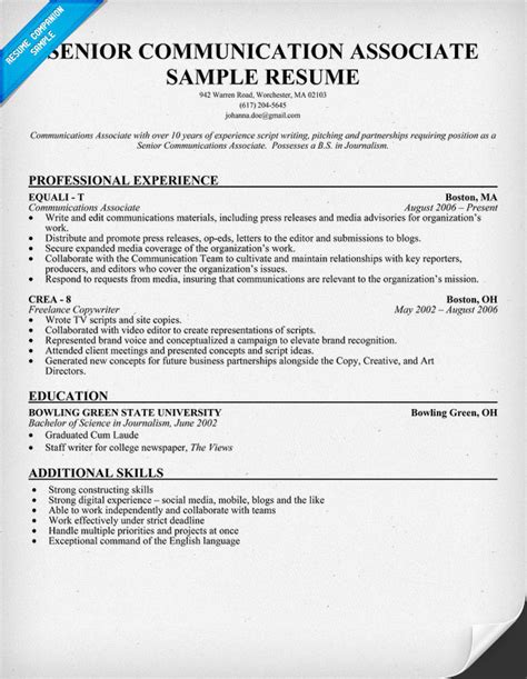 Communication Resume by Communications Resume Communication Sle Exle