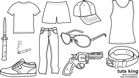 item doodle draw clothing items to wear line drawing vector material