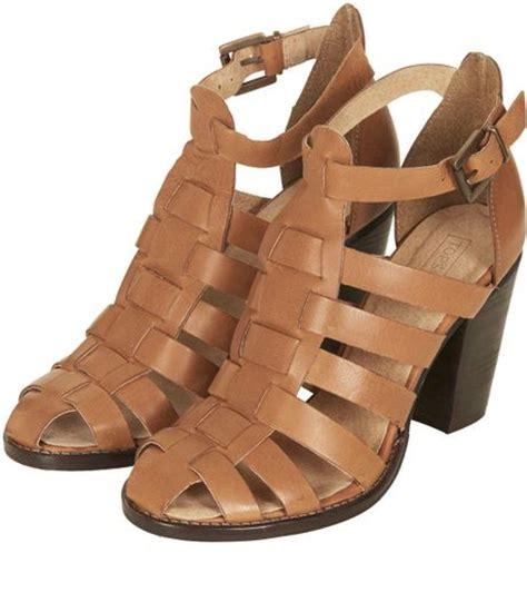 brown heeled sandals topshop gerrie block heel gladiator sandals in brown