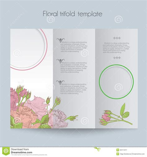tri fold birthday card template floral roses template tri fold mockup for stock vector