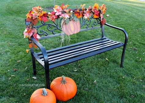 fall bench easy to decorate fall outdoor bench oh my creative