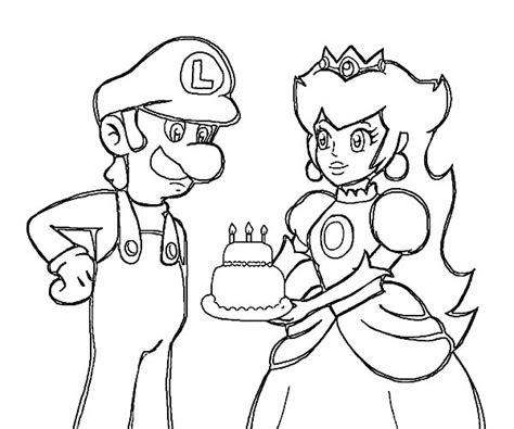 princess birthday cake coloring page princess peach give luigi birthday cake coloring pages