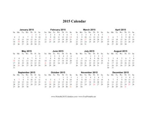 printable calendar 2015 no holidays printable 2015 calendar on one page horizontal holidays