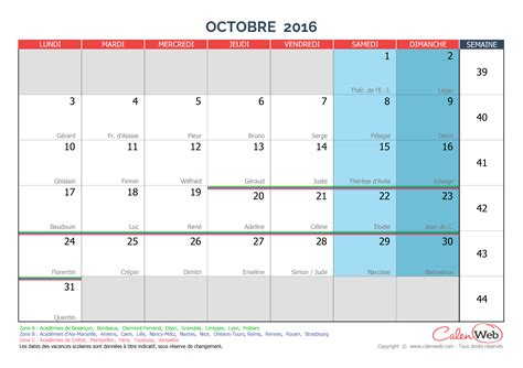 Calendrier Octobre 2016 Calendrier Mensuel Mois D Octobre 2016 Avec F 234 Tes Jours