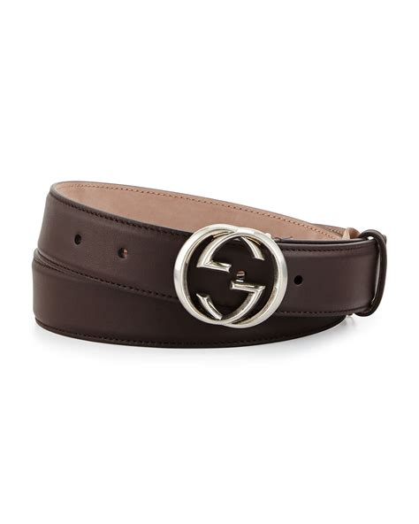 gucci leather gg buckle belt in brown lyst