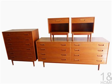 2 pc matching danish modern teak bedroom dresser set by modern mid century danish vintage furniture shop used