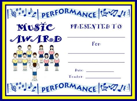 choir certificate template and award certificates
