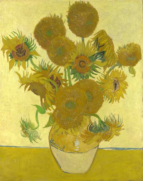 14 Sunflowers In A Vase by Vase With Fourteen Sunflowers Vincent
