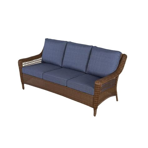 sofa patio hton bay spring haven brown all weather wicker patio