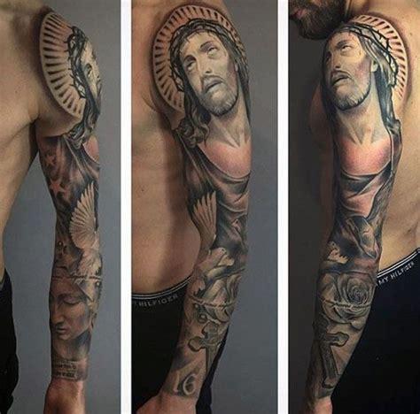 jesus tattoo sleeve ideas mens religious christian themed jesus sleeve tattoo ideas