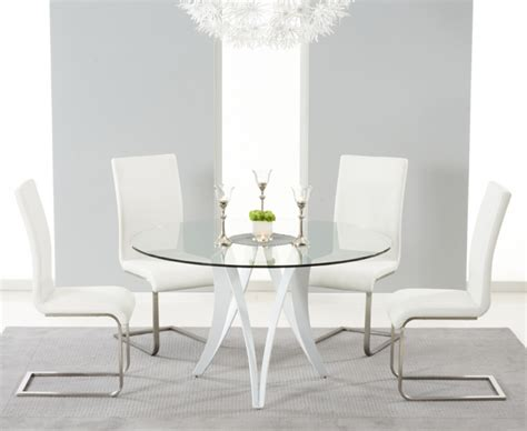 glass dining table with white chairs berlin 130cm glass and white high gloss dining table