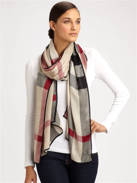 burberry mega check silk scarf for lyst