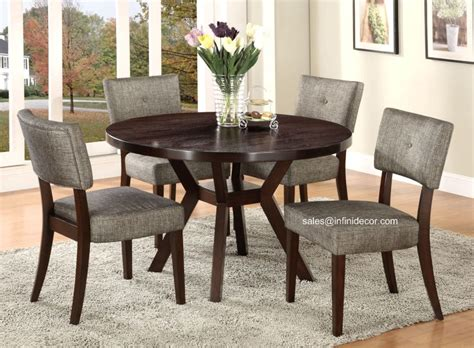 5pcs modern espresso dining table and chair set