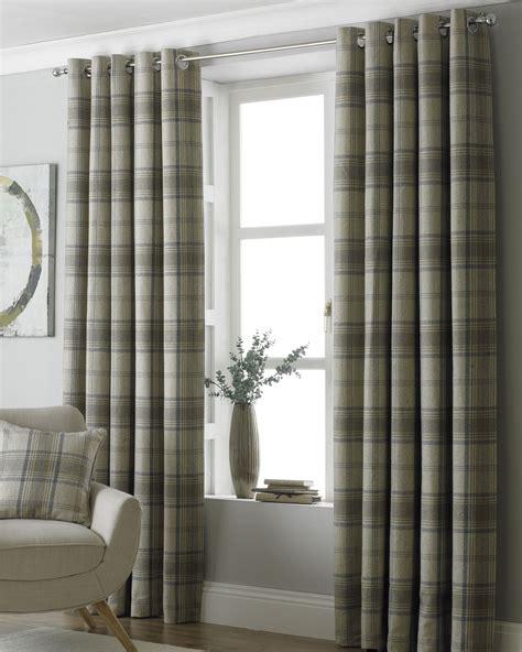 beige tartan curtains tartan check woven wool look beige ring top curtains 7 sizes