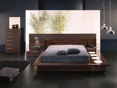 modern platform bed with lights
