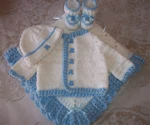 Crochet baby boy sweater set layette by madewithlovebysuzieq
