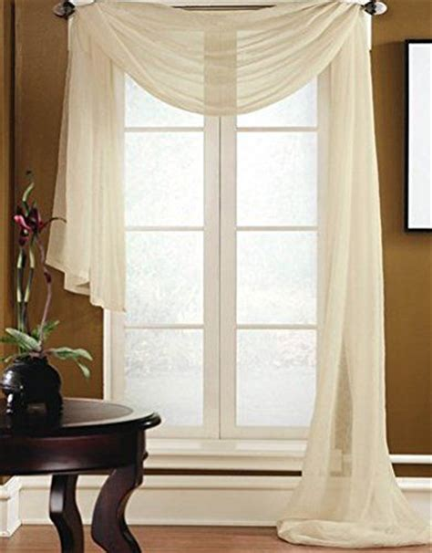 solid voile sheer window scarf curtains valance swag gorgeous home 1 pc solid beige scarf valance soft sheer