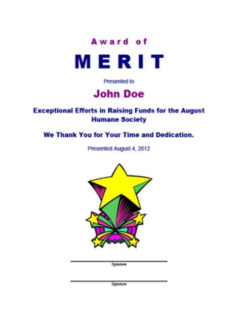 merit card template merit award