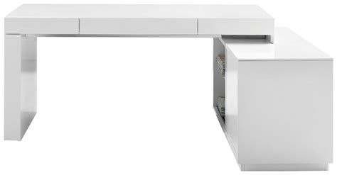 S005 Modern Office Desk With Built In Bookshelf White Modern White Desk