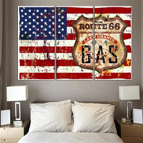 red white and blue home decor 3 piece wall art painting american flag in red white and