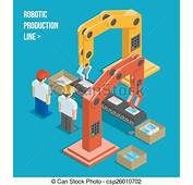 Clipart Vecteur De Ligne Production Robotique  Robotic
