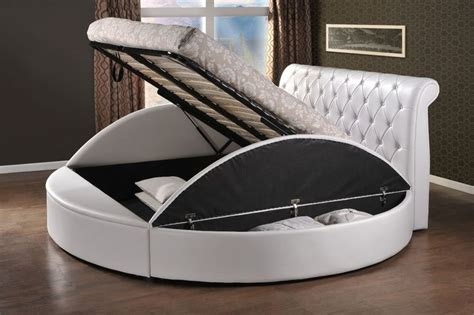 circular bed frame round style storage ottoman gas lift up bed frame luxury