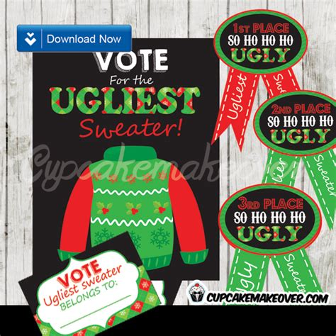 christmas party award ideas sweater award ribbons voting ballots chalkboard sign d1 cupcakemakeover