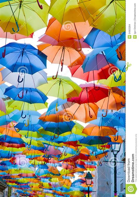 X2 3746 St Umbrella decorated with colored umbrellas stock photo image 34953284
