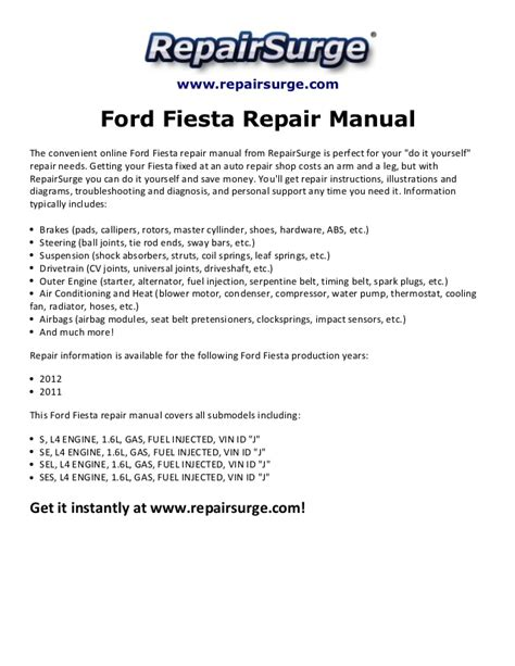car service manuals pdf 2011 ford fiesta electronic throttle control ford fiesta repair manual 2011 2012