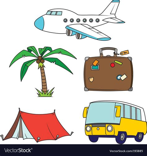 free vector clipart images holidays and travel clipart set royalty free vector image
