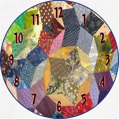 Tumbling Blocks Patchwork - tumbling block patchwork quilt wall clock by nansphotoart