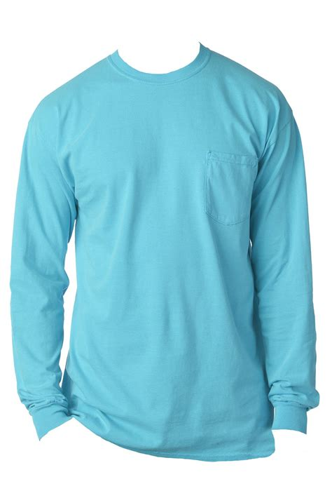 comfort colors pocket shades of blue comfort colors long sleeve pocket tee 4410