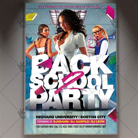 back to school party premium flyer psd template psdmarket