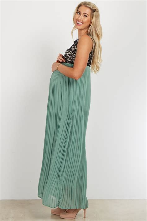 Maternity Pleated Chiffon Dress teal pleated chiffon lace top maternity maxi dress