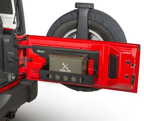 jeep jk tailgate storage quadratec tailgate cargo shelf with fifty ammo storage