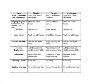 Lesson Plan Template For Infants by Weekly Toddler Lesson Plan Template