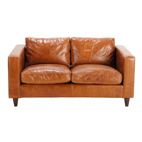 Vintage Brown Leather Sofa 2 Seater Leather Vintage Sofa In Brown Henry Maisons Du Monde