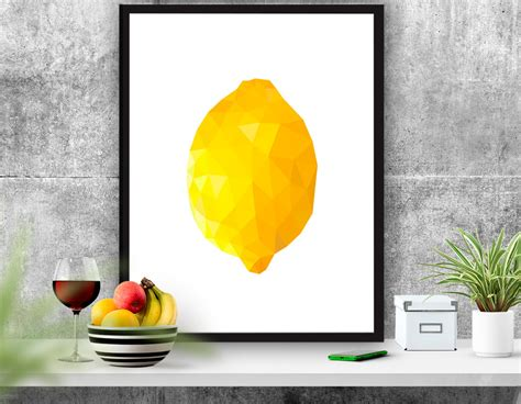 Kitchen Items With Lemons Fruit Poster Lemon Printable Kitchen Decor Abstract Lemon