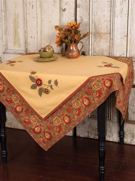 kitchen table cloths sunflower embroidered topper cloth linens kitchen