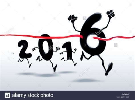 when does new year finish 2016 new year characters crossing the finish line stock